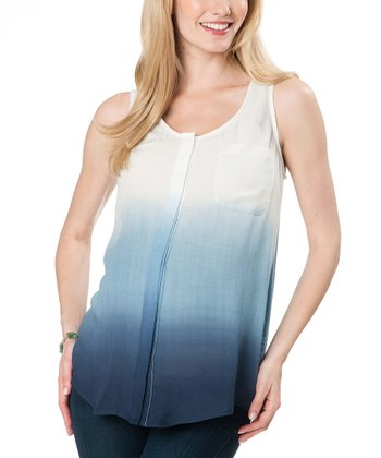 Willow & Clay Blue Pocket Maternity Sleeveless Top