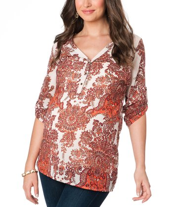 White & Red Maternity Three-Quarter Sleeve Top