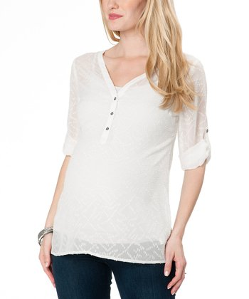 White Sheer Maternity Three-Quarter Sleeve Top