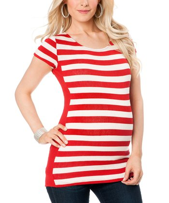 Red & White Stripe Maternity Cap-Sleeve Top