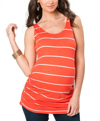 Orange & White Stripe Scoop Neck Maternity Tank