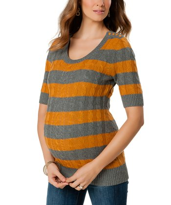Mustard & Charcoal Stripe Button Maternity Sweater