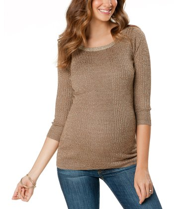 Gold Three-Quarter Sleeve Maternity Sweater