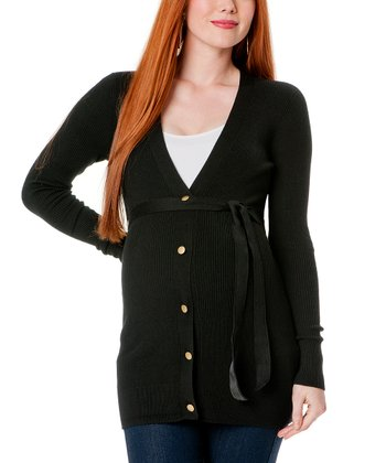 Black Long-Sleeve Maternity Cardigan