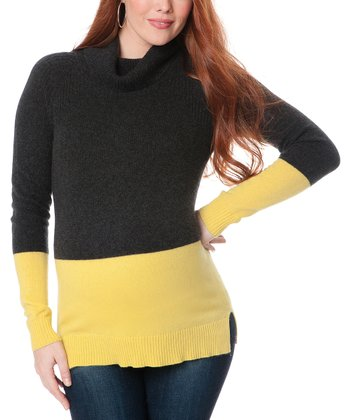 Yellow & Black Color Block Cashmere Maternity Turtleneck