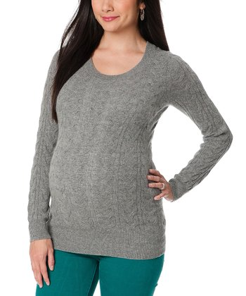 Gray Cable Knit Cashmere Maternity Sweater