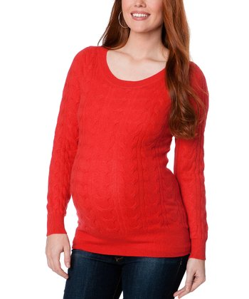Red Cable Knit Cashmere Maternity Sweater