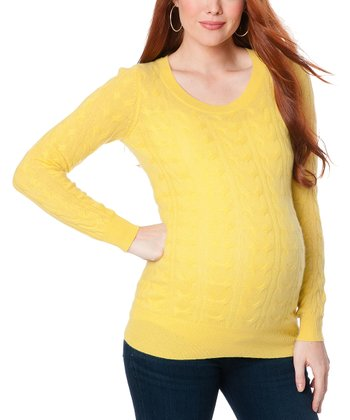 Yellow Cable Knit Cashmere Maternity Sweater