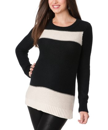 Black & White Color Block Maternity Sweater