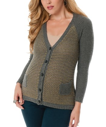 Gray & Gold Pocket Maternity Cardigan