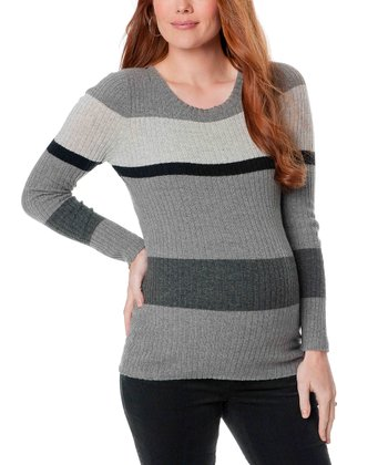 Gray Stripe Scoop Neck Maternity Sweater