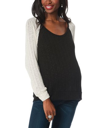 Black & Ivory Eyelet Maternity Sweater