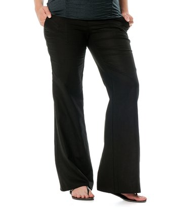 Black Under-Belly Linen-Blend Drawstring Maternity Pants