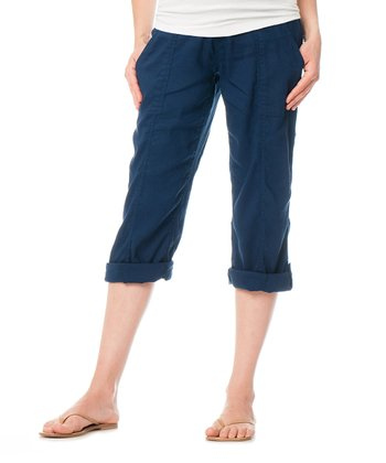 Navy Secret Fit Belly® Linen-Blend Button Maternity Capri Pants