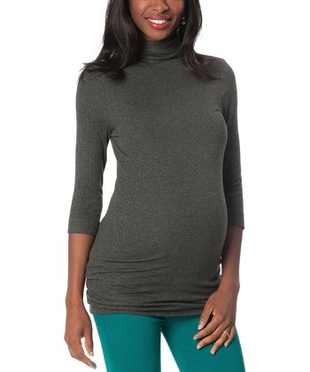 Gray Three-Quarter Sleeve Maternity Turtleneck
