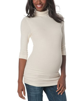Cream Three-Quarter Sleeve Maternity Turtleneck