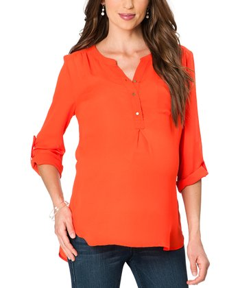 Orange Pocket Maternity Three-Quarter Sleeve Top