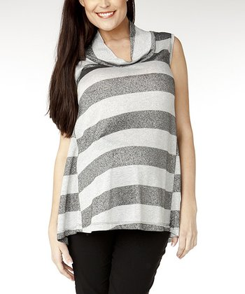 Silver Stripe Amelia Maternity Cowl Neck Top