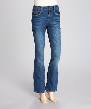 Medium Blue Stud Flare Jeans