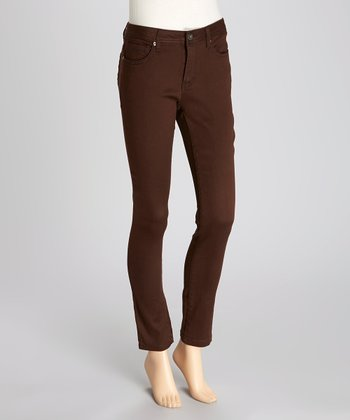 Brown Sateen Jeggings