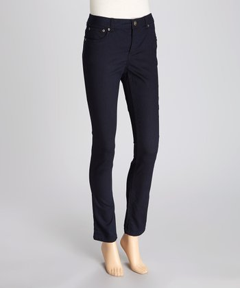Navy Sateen Jeggings