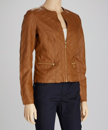 Honey Double-Quilted Faux Leather Jacket
