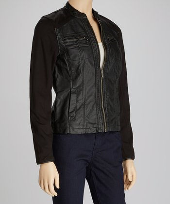 Black Ponte Faux Leather Jacket