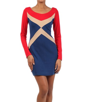 Red & Blue Color Block Long-Sleeve Dress