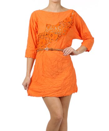 Orange Lace Belted Three-Quarter Sleeve Dress
