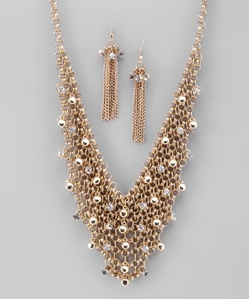 Gold Bead Chain-Link Necklace and Earrings