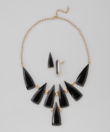 Black & Gold Triangle Bib Necklace & Earrings Set