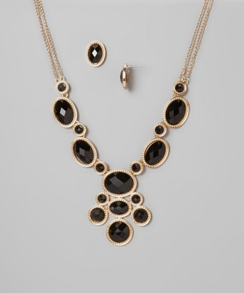 Black & Gold Oval Bib Necklace & Earrings Set