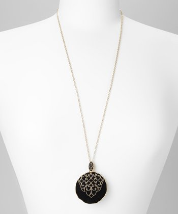 Black & Gold Filigree Circle Pendant Necklace