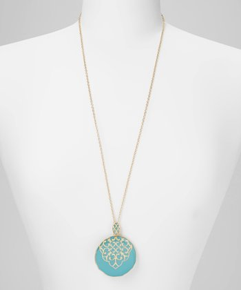 Turquoise & Gold Filigree Circle Pendant Necklace