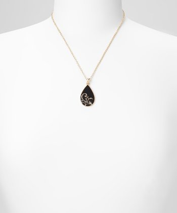 Black & Gold Filigree Teardrop Pendant Necklace