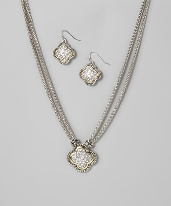 Silver & Gold Clover Pendant Necklace & Earrings Set