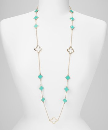 Turquoise & Gold Clover Necklace