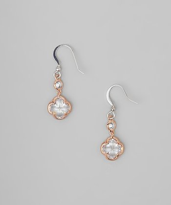 Rose Gold Clover Rhinestone Drop Earrings