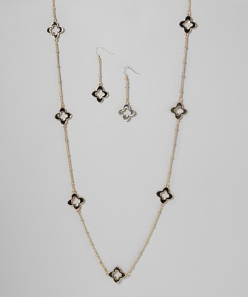 Black & Gold Clover Necklace & Earrings Set