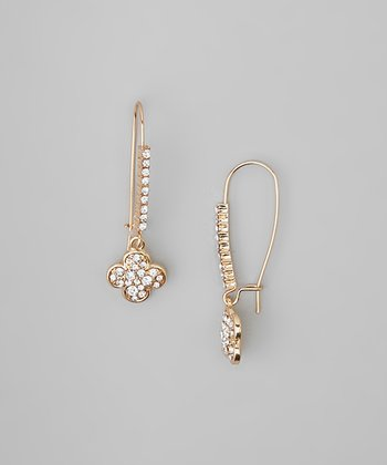 Gold Clover Austrian Crystal Dangle Drop Earrings