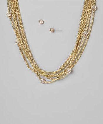 Gold Fireball Layered Necklace & Earrings Set