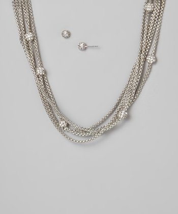 Silver Fireball Layered Necklace & Earrings Set