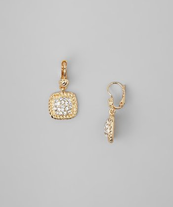 Gold Square Rhinestone Drop Earrings