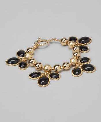 Black & Gold Beaded Cluster Bracelet