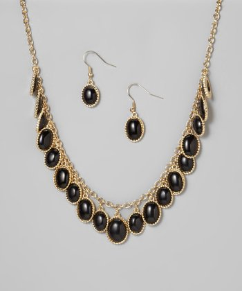 Black & Gold Oval Necklace & Earrings Set