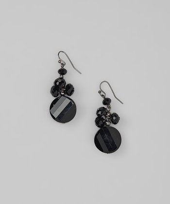Black Cluster Drop Earrings