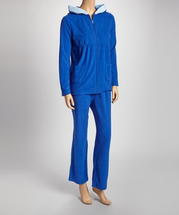 Blue Hooded Pajama Set - Women