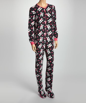 Black & Pink Skull Footloose Footie Pajamas - Women