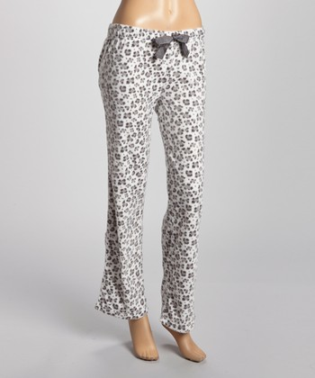 White & Gray Meant for You Minky Pajama Pants - Women