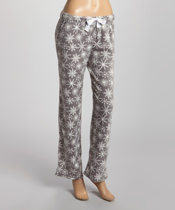 Gray & White Meant for You Minky Pajama Pants - Women
